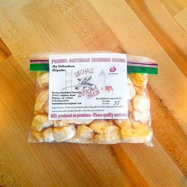 A bag of Ay Chihuahua Chipotle Cheese Curd from Bechaz Riverdale Cheese.