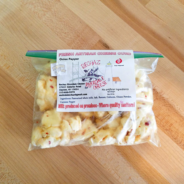 A package of Onion Pepper Cheese Curd.