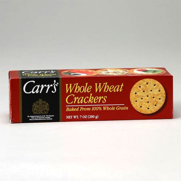 Box of Carr's Whole Wheat Crackers.