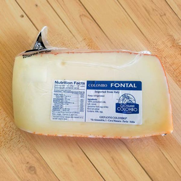 A wedge of Giovanni Colombo Fontal cheese.