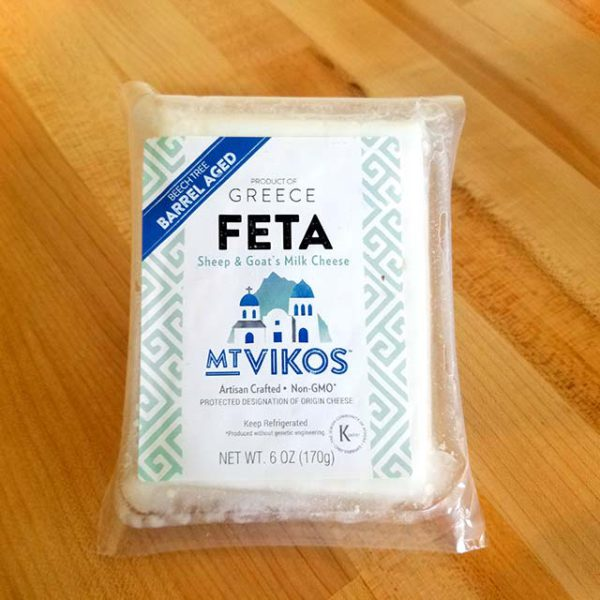 A package of Mt. Vikos Feta cheese.