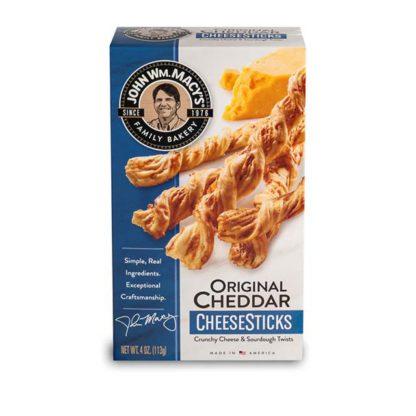 Box of John Wm. Macy's Original Cheddar CheeseSticks crackers.