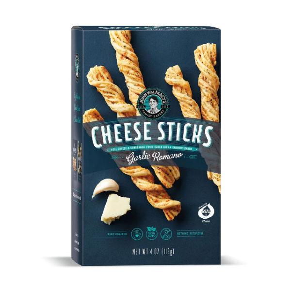 Box of John Wm. Macy's Garlic Romano CheeseSticks crackers.