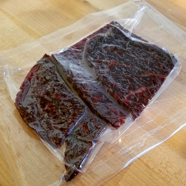 A package of Lawrence Family Farms Teriyaki Beef Jerky.