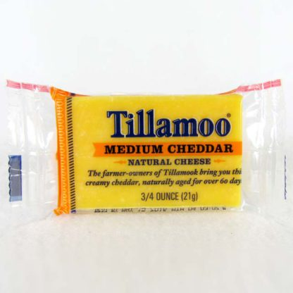 Serving of Tillamook Medium Cheddar.