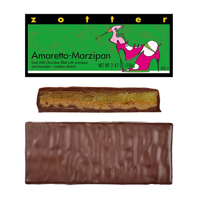 Zotter Amaretto-Marzipan Hand-Scooped Chocolate Bar