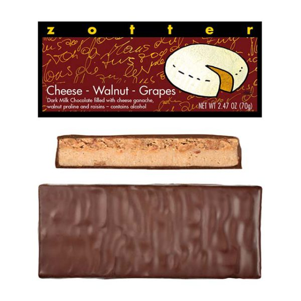 Zotter Cheese-Walnut-Grapes chocolate bar