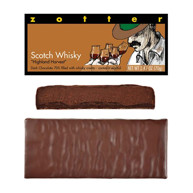 "Zotter Scotch Whisky ""Highland Harvest"" Hand-Scooped Chocolate Bar (2.47 oz.)"