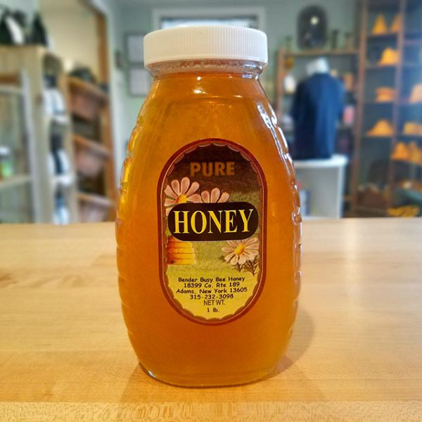 A 1 lb. jar of Bender's Pure Honey.