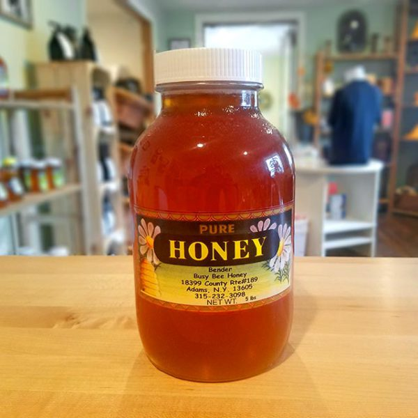 A 5 lb. jar of Bender's Pure Honey.