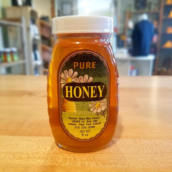 An 8 oz. jar of Bender's Pure Honey.