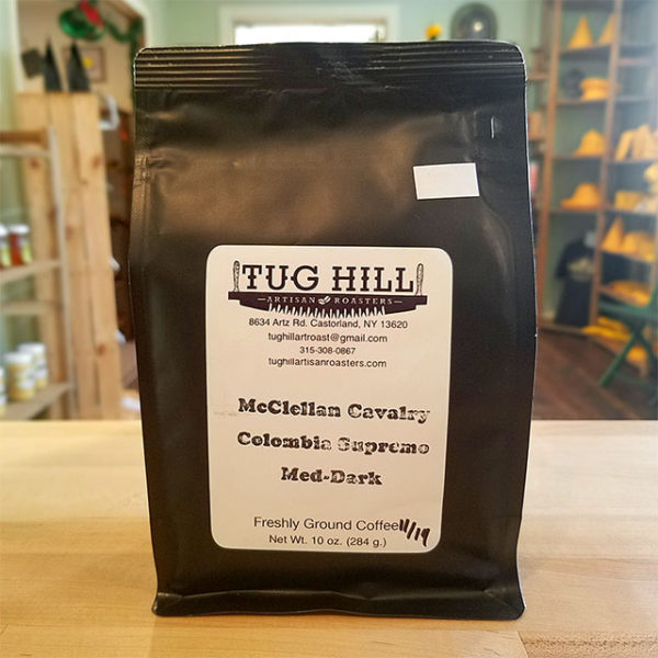 A bag of McClellan Cavalry coffee from Tug Hill Artisan Roasters.