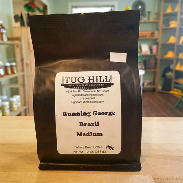 A bag of Running George coffee from Tug Hill Artisan Roasters.