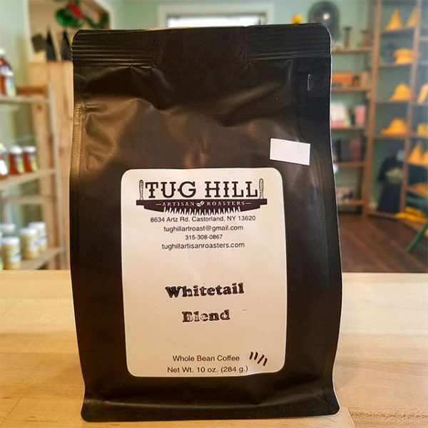 A bag of Whitetail Blend coffee from Tug Hill Artisan Roasters.