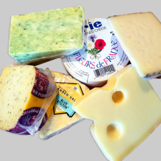 Pile of imported cheeses