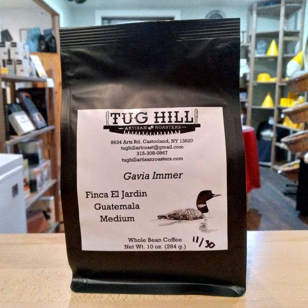 A bag of Finca El Jardin Guatemala medium roast coffee.