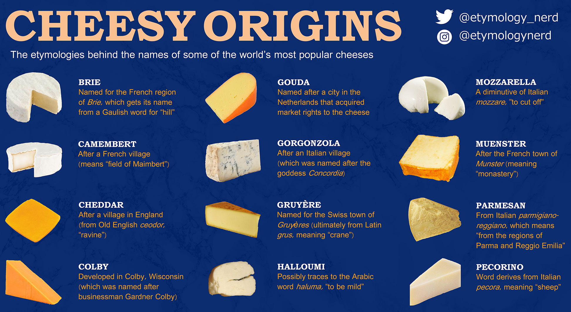 A partial infographic displaying many cheeses and a history of their names.