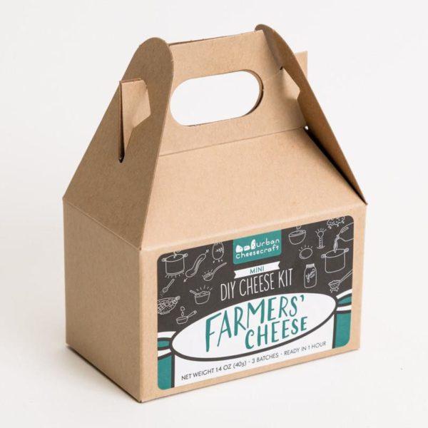 Farmers Cheese Mini DIY Cheese Making Kit in a brown box.