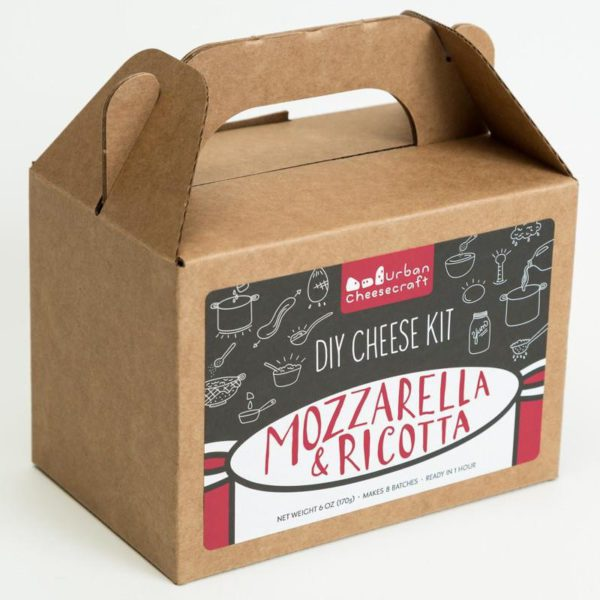 Mozzarella Ricotta DIY Cheese Making Kit in a brown box.