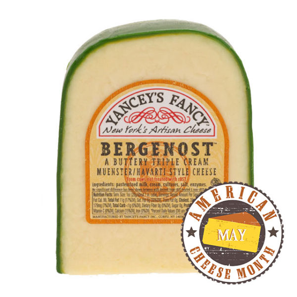 A wedge of Bergenost cheese.