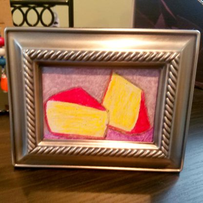 Framed cheese wedge pastel art by Brie-joux Handmade Jewelry.