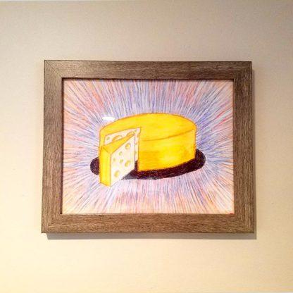 Framed cheese wheel pastel art by Brie-joux Handmade Jewelry.