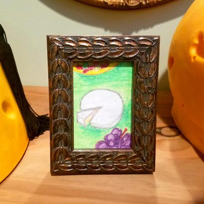 Framed cheese wheel and grape pastel art by Brie-joux Handmade Jewelry.
