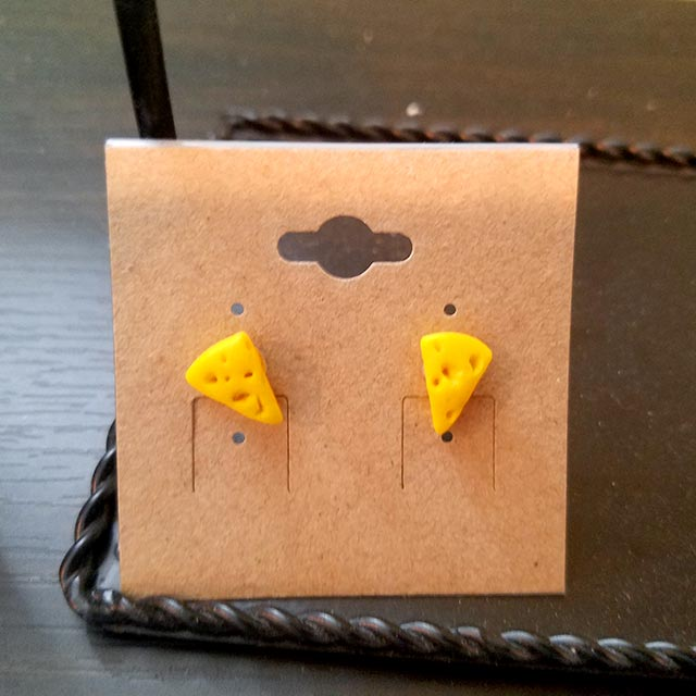 Handmade cheese wedge earrings by Brie-joux Handmade Jewelry.