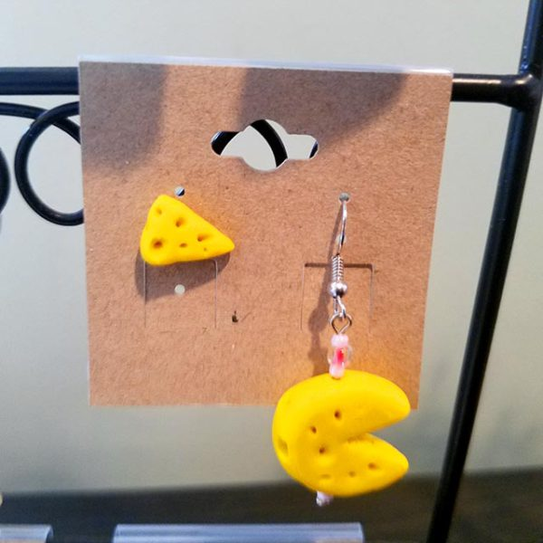 Handmade cheese wheel and wedge earrings by Brie-joux Handmade Jewelry.