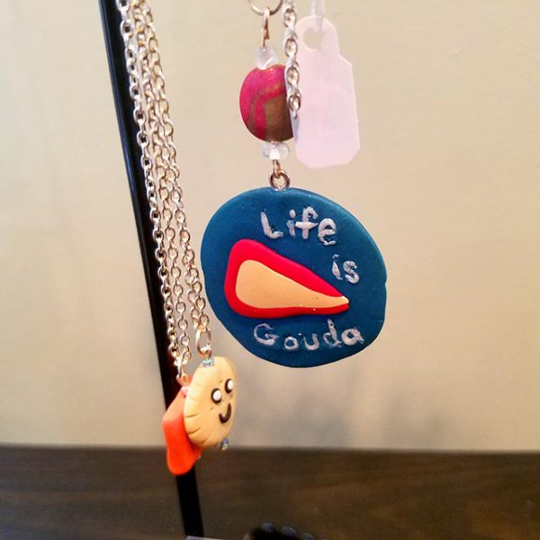 "Handmade ""Life is Gouda"" pendant necklace by Brie-joux Handmade Jewelry."