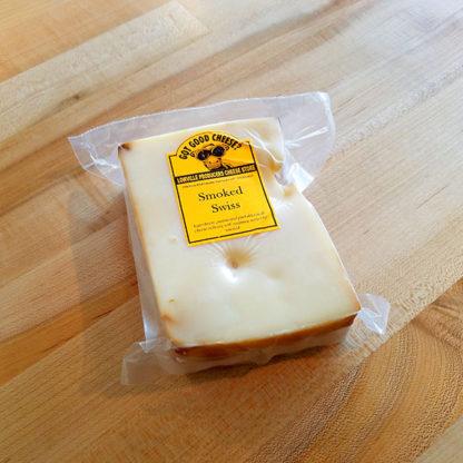 A brick of Smoked Swiss cheese.