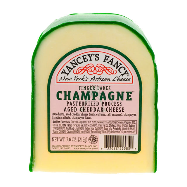 Finger Lakes Champagne Aged Cheddar Cheese – Yancey's Fancy