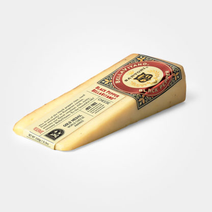 A wedge of Black Pepper BellaVitano cheese.