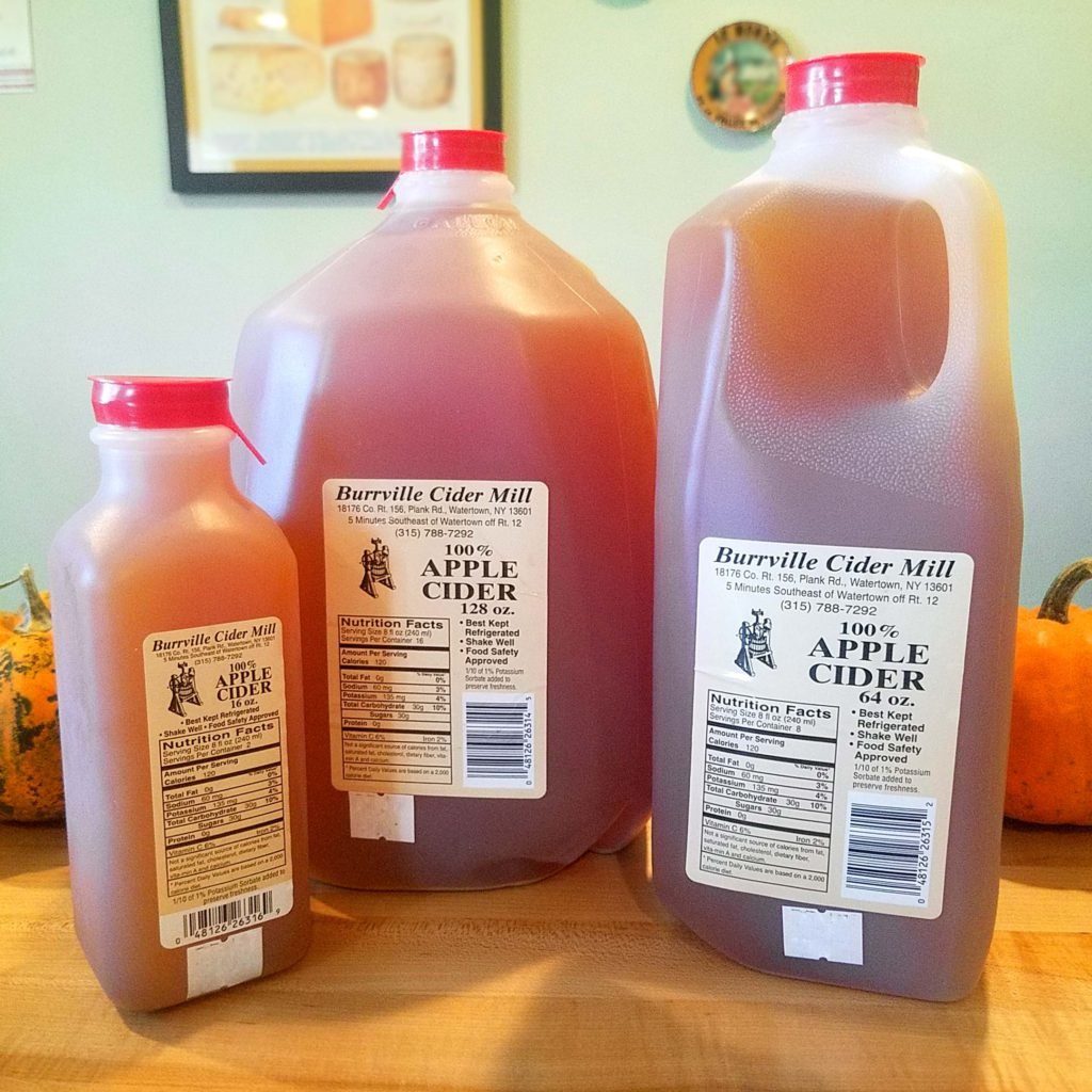 Burrville Apple Cider in containers of various sizes.