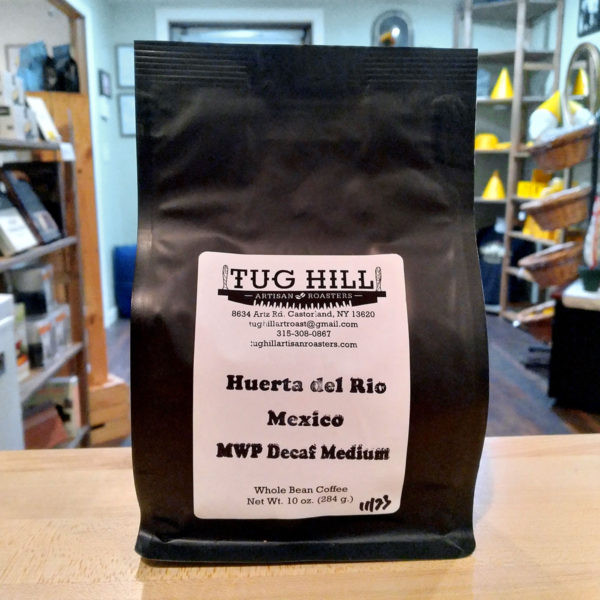 A bag of Huerta del Rio Mexico decaf coffee from Tug Hill Artisan Roasters.