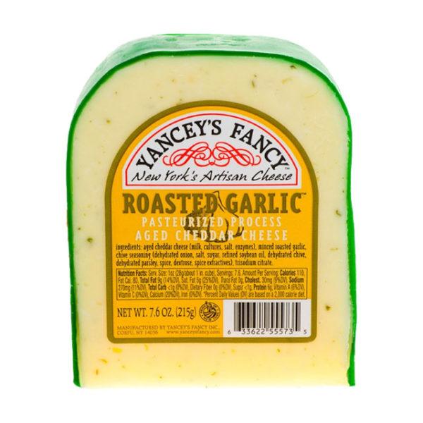 A wedge of Roasted Garlic Cheddar.