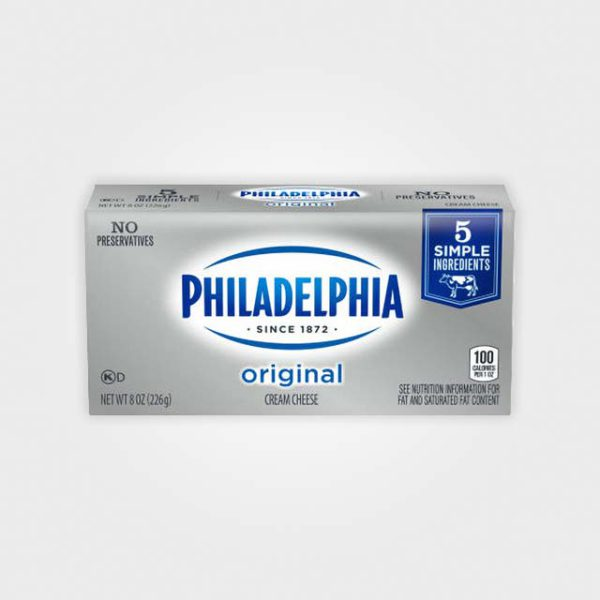 An 8oz. brick of Philadelphia Cream Cheese.