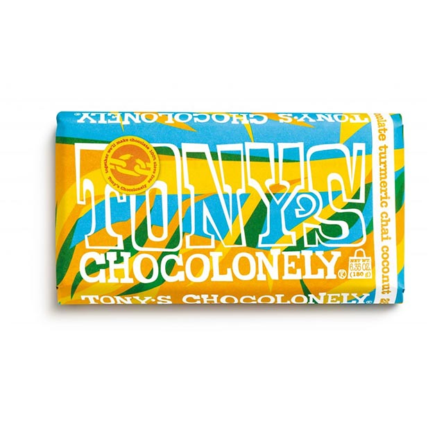 White Turmeric Chai Coconut 28% Chocolate Bar (6.35 oz.) – Tony's Chocolonely