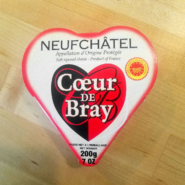 Coeur de Bray Neufchatel in a heart-shaped box.
