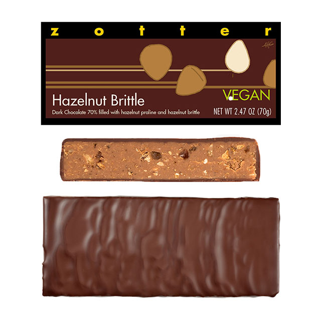 Zotter Hazelnut Brittle Hand-Scooped Chocolate Bar