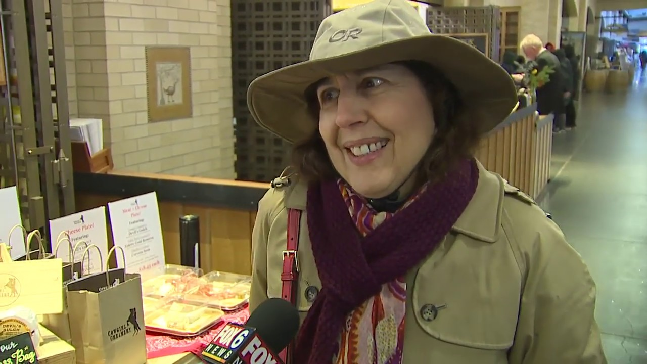A woman in San Francisco being interviewed about cheese curd.