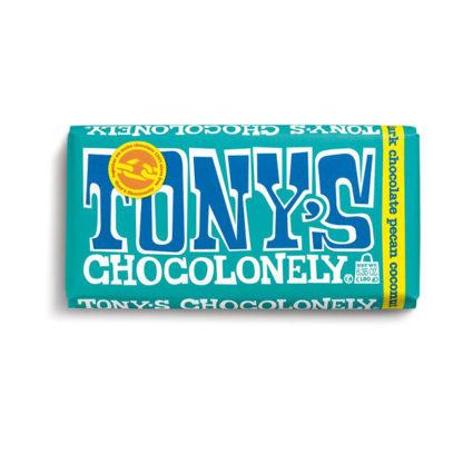 A bar of Tony's Chocolonely Dark Pecan Coconut chocolate bar.