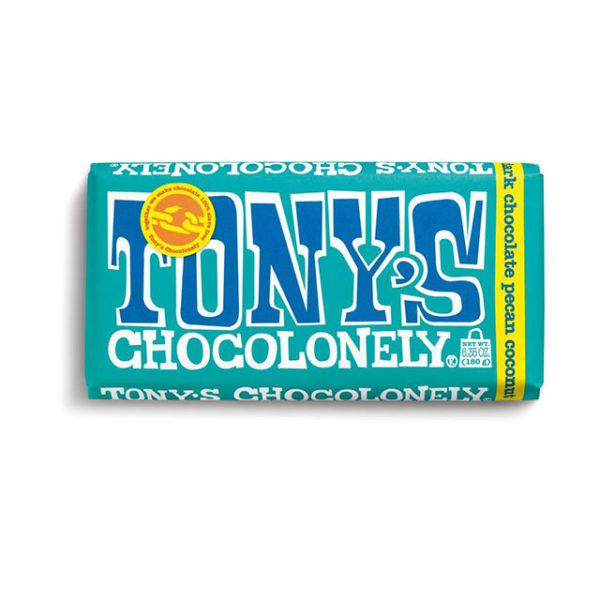 A bar of Tony's Chocolonely Dark Pecan Coconut chocolate bar.