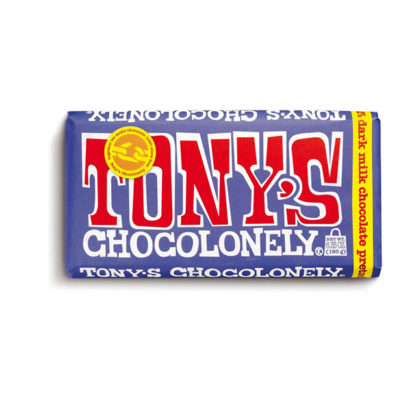 A bar of Tony's Chocolonely Dark Pretzel Toffee chocolate bar.