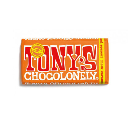 A bar of Tony's Chocolonely Milk Caramel Sea Salt chocolate bar.