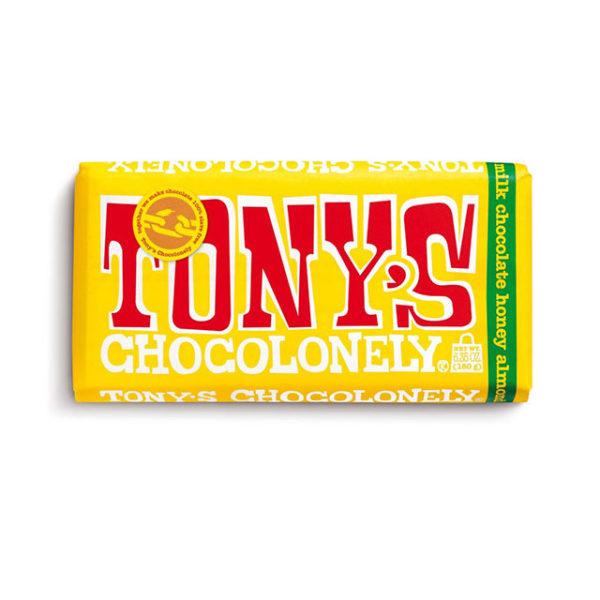A bar of Tony's Chocolonely Milk Honey Almond Nougat chocolate bar.