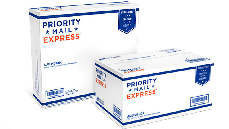 USPS Express Mail shipping boxes.