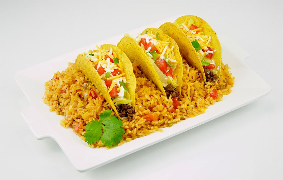 Tacos on Spanish rice.