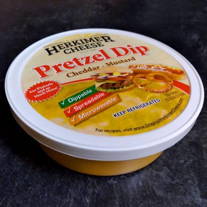 Close up of container of Pretzel Dip.