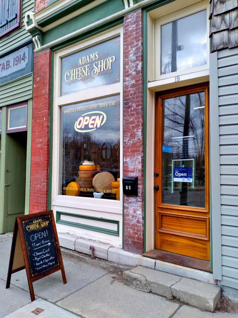 Exterior of the Adams Cheese Shop at 19 Main Street in Adams, NY.